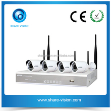 hot 4ch 2.4G wireless 720p waterproof nvr kit, alarm system wireless