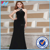 2016 Arrival Sleeveless Beaded Wholesale Sexy Free Form Dress Split Sexy Black Prom Dresses Long bandage Chiffon Evening Dress