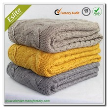 Washable Thick 100 Acrylic Cable Knitted Adult Blanket