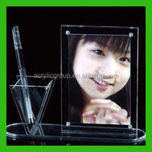 ODM Clear Acrylic Photo Frame Picture Holder With Triangle Pen Holder