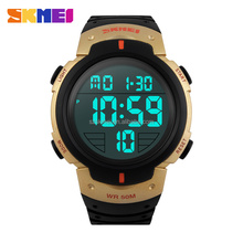 Daily alarm sport digital gold watches for men