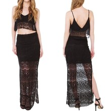 Custom Design Ladies Black Lace Side Slit Fitted Transparent Long Maxi Skirts