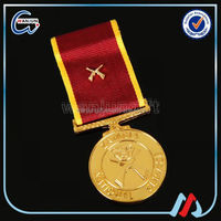 beautiful brass china military medal with V neck ribbon