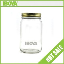 Wholesale 500ml Eco mason high flint round glass honey/jam/candy bottle with metal lid