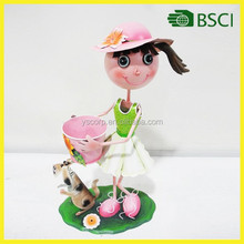 Metal craft flower pot with doll for garden decoration