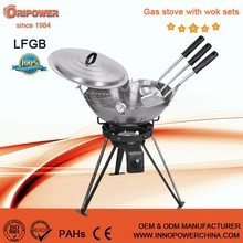 outdoor gas burner with two adjustable legs carbon steel wok kit CE certificate