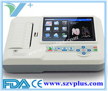Portable Digital ECG machine 600G Digital 3/6 Channel ECG touch Color screen with printing function