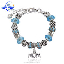Mother's day gift bead bracelet 2015, alloy MOM charms bracelet charms fit blue murano glass bead bracelet