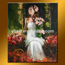 venta al por mayor personalizados hechos a mano pintura al óleo retrato para las mujeres