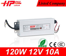 Guangzhou factory provide smps 5v 12v 24v led smps constant voltage single output Rainproof series 12v 10 amp power supply