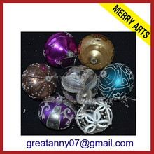 wholesale colors glitter line decorated glass christmas ball ornaments gold glass christmas ball
