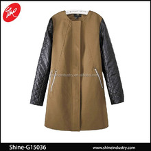 Hot leather sleeves no collar brown coat