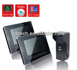 "Touch key 9"" wired color recordable video door phone supporting 32G memory card,4CH video in, 1CH video out"
