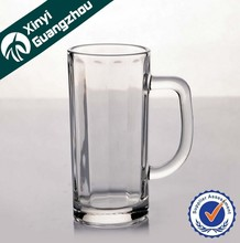 custom souvenir bar glass mug / newest novelty clear glass mug with handle/ personalized pressed glass cup