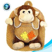 Stuffed custom monkey plush toy school baby bag backpack cute soft plush girl bag