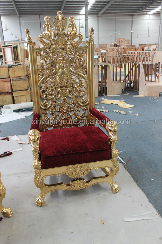 Wedding Throne King Queen Chair Gold Foil Finished Chair - Throne Chairs  For Weddings Outdoor Wedding - Antique King And Queen Chairs Antique Furniture