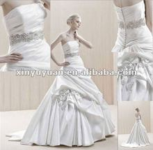 2012 Newest Strapless A-line, ruche bodice and beaded waistband Wedding dress BE-006