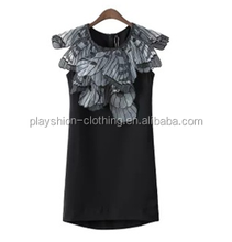 Latest Design Dress Organza Wings Design on Shoulder Sleeveless Dress