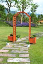wooden garden arch with planters ALS-7136