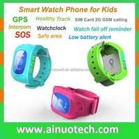fashion GPS watch phone for kids intercom/cell phone/SOS/healthy monitor fuction