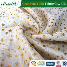 Gorgeous gilded starry snow white seamless design polyester velour for kid dress