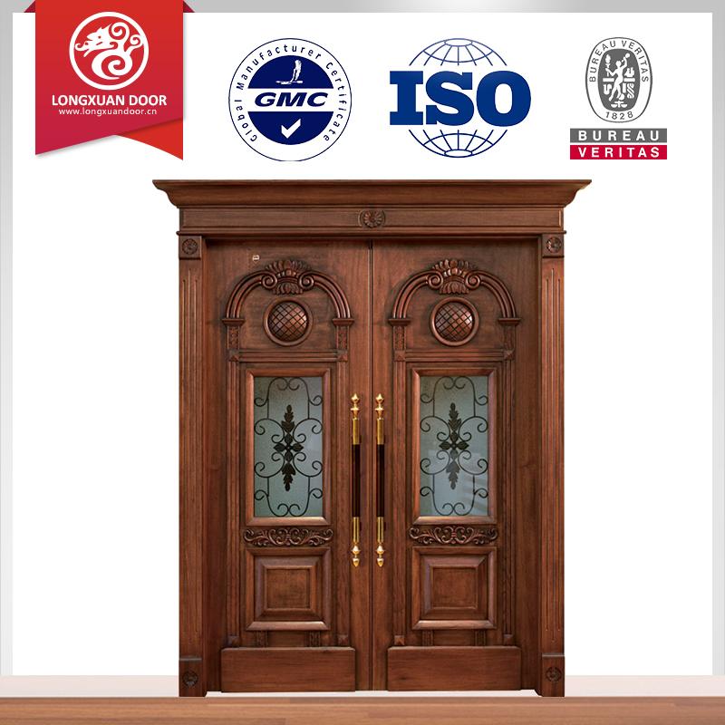 nueva veta de la madera de interior francs puertas dobles de cristal de diseo