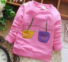 New design autumn child garment, long sleeve cotton t-shirt for girl, korean design lovely child clothes