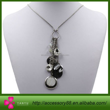 Fun black and White Chain Necklace with Multiple doll pendant necklace
