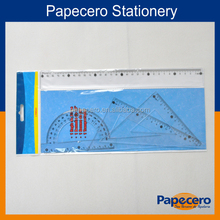 Clear plastic geometric ruler set contains ruler,triangle ruler and protractor