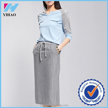 Yihao Fashion Women High Waisted Belted Stretch Knee Length Pencil Skirt