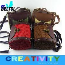 PU young fashion girls clap cross bag/ women's tote bag/ straw hand bag/handmade bag