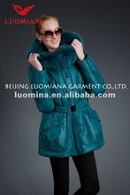 2012 Newest Ladies Hooded Long Style Duck Down Coats With Stylish Cutting