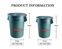 PE Grey Recyclable Round Storage Container Outdoor Dustbin With Wheels
