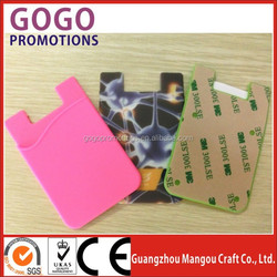 factory custom Top quality photo print sticky adhesive mobile phone pocket,silicon phone pockets,smart wallet for mobile with 3M