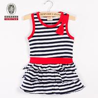 2011 new design fashion baby dress stripe and ruffle children latest dress style