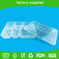 7 Divide plastic disposable compartment lunch box with dividing to microwave