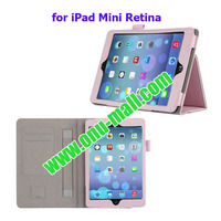 Wallet PU Leather Case for iPad Mini Retina with Card Slots and Armband
