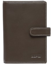 Men's soft waterproof classic brown genuine leather travel passport wallet