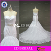 Exquisite Lace Apliqued Sweetheart Mermaid White Wedding Dress With Long Train