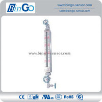 Valve control glass level indicator with high temperature high pressure and low density special float