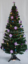 New Fashion Artificial Fiber Optic With Purple Flower Christmas Decoration Xmas Tree