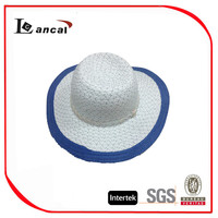 Wholesale fancy kids lurex straw trilby hats with sequins ornament