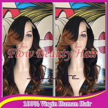 Loog Wavy Synthetic Lace Front Wig Glueless 1b# mixed 30#Highlight Black And Grey Heat Resistant Hair Wigs