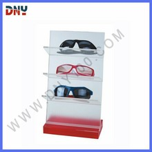 wooden base and acrylic backboard reading glasses display