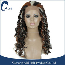 Three Tone Color Afro Wave Synthetic Lacefront Wig Kanekalon Fiber Lace Closure for Black Woman