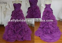 2012 Hot Sale Gorgeous purple organza with sash complex organza skirt wedding gown 2013