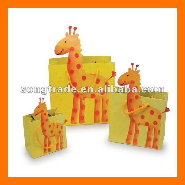Animales en forma de regalo de papel personalizados bolsa para el niño party decor