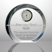 Round Crystal Desk Clock for Father's Day Crystal Gifts Souvenirs
