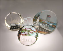 simple cheap hot selling personalized blank round crystal paperweight with 3D laser for business favor,gift,craft,souvenirs