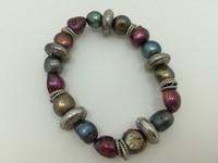 colorful metal pearl bracelet flat pearl beads
